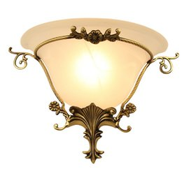 Wholesale Frosted Glass Wall - European style Copper LED Wall Lamp Corridor Aisle Bedroom Wall Lamps LLFA