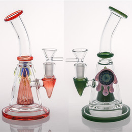 Wholesale Free Demon - 100% Real Image Two Color Glass Bong in Demon Eye Bong Water Pipe 2017 New Fashion Thick Base Recycler Oil Rigs Fast Shipping