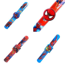 Wholesale Slap Watch Spiderman - kids cartoon slap snap watches spiderman wristwatch wrist watch for children boys girls toys Christmas Gift wholesale free shipping