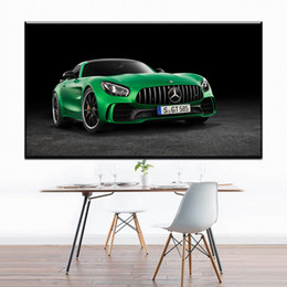 Wholesale Abstract Sports Wall Art Painting - ZZ1300 modern abstract canvas art green sports car canvas oil art painting wall pictures for livingroom bedroom decoration art