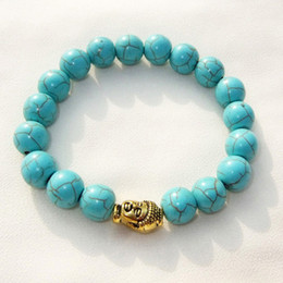 Wholesale Turquoise Silver Tibet Bead - Hot Sale Gold Silver Buddha bead Charm Bracelet Elastic Chain Turquoise Stone Bracelets Bangles for women Unisex Vintage Jewelry