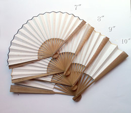 "Wholesale Antique Chinese Fan Paper - 7-12"" Blank Plain Color Hand Fan Adult Calligraphy DIY Fine Art Hand Painting Programs Chinese rice Paper Folding Oil Bamboo Fans Crafts"