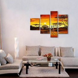 Wholesale Africa Figure - Free Shipping Hot Sale handmade oil painting on canvas modern Africa Landscape Painting Best Art oil painting