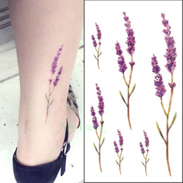 Wholesale Lip Sticker Tatto Wholesale - 24 designs flower Waterproof temporary tattoo sticker lotus leaf girl lavender tatto stickers flash tatoo fake tattoos for women
