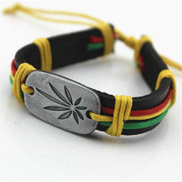 Wholesale Metal Maple Leaf - Wholesale Genuine Leather Metal Maple Jamaica Unisex Men's & Lady's Love Fashion For Women Bracelet Bangle lucky leaf men