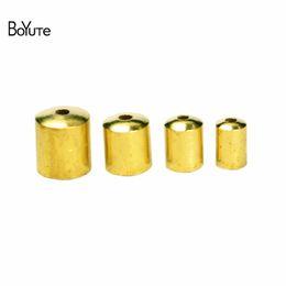 Wholesale Metal End Caps - BoYuTe 100Pcs 11 Sizes Metal Brass Tassel Leather Cord End Caps Clasp DIY Jewelry Accessories Parts