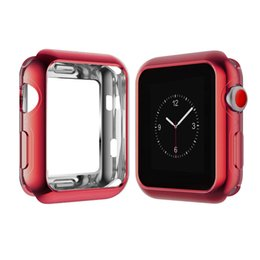Wholesale Shockproof Watches - Apple Watch TPU Protective Case Slim Ultra-thin Electroplate Two-tone Shockproof Soft iwatch case cover for series 3 2 1 Retail Package