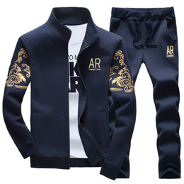 "Wholesale Hoodie Sets - Wholesale-2016 New Fashion Hoodies Men ""AR"" Letter Printing Sweatshirt Men Tracksuit Suit Set Mens Hoodies and Sweatshirts + Pants 5XL"