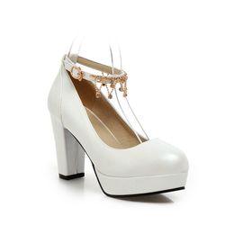Wholesale Wedding Rhinestone Belt Buckles - Wedding Shoe White High-Heeled Dress Shoes Thick Heel Round Head Belt Buckles Beige Bride Bridesmaid Shoe pumps sy-1762