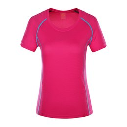 Wholesale Kimono Fabrics Red - Women Running T Shirts 2017 Summer New Fitenss Sport Tops Breathable Quick Dry Fabric Short Sleeve Gym Workout Jogging Tshirts