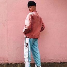 Wholesale Western Coats Jackets - 17SS Sup Cowboy Denim Pink Jacket Men Women Fashion Coats Western Cowboy Jacket Hip Hop M~XL HFJK018