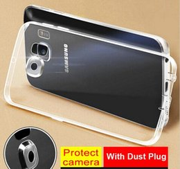 Wholesale Galaxy Camera Cases - Camera Protector Dust Plug Clear Transparent Case Crystal Soft TPU Slim Cover Case For Samsung Galaxy S7 S8 Plus EDGE S6 Note5 100pcs