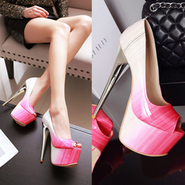 Wholesale High Heels Big Sizes - Big Size Women's Shoe 16CM High Heels 5.5cm Platform Pumps Party Shoes For Women Wedding Shoes tenis feminino Y-12-85