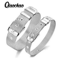 Wholesale Pure Gold Bangle Bracelets - Wholesale- Fashionable Belt Design Pure 925 Sterling Silver Fine Jewelry Bracelet Bangle Top Quality 2 Size Options For Woman Man S93