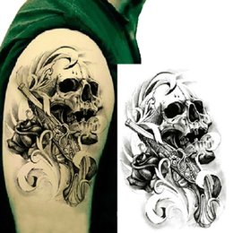 Wholesale Hand Tattoo Gun - Wholesale-Single Gun Skull Tattoo 3D Waterproof Temporary Tattoo Stickers Body Art Tattoo Stickers Hand Decoration Pro Beauty Makeup 1pcs