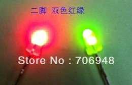 Wholesale Diffused Led Lens - Wholesale- 3mm leds,red green color,diffused lens,non-polarity bicolor led