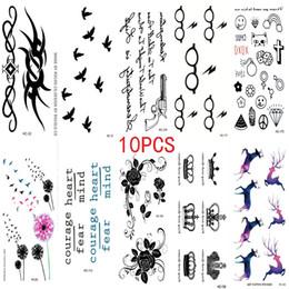 Tatuagem temporária impermeável para pássaros on-line-Atacado-10PCS New Combination 1 Lot Moda Masculina E Feminina Tatuagem Falsa Aves Flor Body Art Flash Tatuagens Temporárias À Prova D 'Água Adesivos