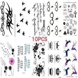 Wholesale Fake Tattooing - Wholesale- 10PCS New Combination 1 Lot Fashion Men And Women Fake Tattoo Birds Flower Body Art Flash Waterproof Temporary Tattoos Stickers