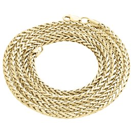 """Wholesale 24 Solid Gold Chains - Real 10K Yellow Gold Rounded Semi Solid Palm Wheat Chain 3.50mm Necklace 24""""-30"""""""
