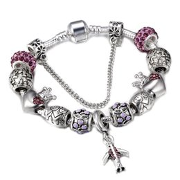 Wholesale earth charms - SPINNER Travel Aircraft and Earth Charm Bracelet Women With Crown Beads fit Snake Chain Pandora Bracelets Female Diy Jewelry