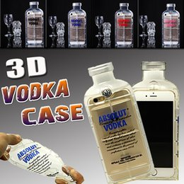 Wholesale Iphone 5g Tpu - 3D Transparent ABSOLUT VODKA Wine Beer Bottle Shockproof TPU Soft Silicone Clear Crystal Protection Cover Case For iPhone 6 6S Plus 5 5S 5G