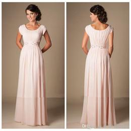 Wholesale Cheap Winter Dresses Online - Scoop Short Sleeves Chiffon Pink Pleated Ruched Floor Length Bridesmaid Dresses Beaded Waistline Custom Online Cheap Bridesmaids Dress