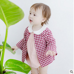 Wholesale Cute Korean Little Children - Children cute outwears girls cotton plaid long sleeve coats 2017 new autumn winter little kids single-breasted Korean style clothes C1012