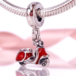 Wholesale Scooter Jewelry - pandora charms 925 Sterling Silver Beads Red Scooter Dangle Charm Fits European Pandora Style Jewelry Bracelets & Necklace 791140EN42