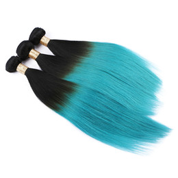 Usine Prix Trames de Cheveux Humains Racine Foncé Ombre Bule Couleur Extension de Cheveux Cosplay Droite 1B Herbe Vert Cheveux Bundles 3 Pcs Lot ? partir de fabricateur
