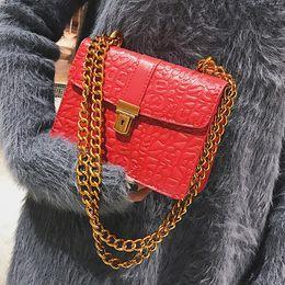 Wholesale Embossed Wedding - messenger bags flap women gold chain shoulder bags embossed leather Handbag 2017 female fashion Crossbody Bag red wedding bag