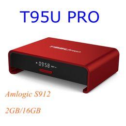 Wholesale Case Youtube - Metal Case T95U PRO Android 7.1 Smart TV Box Amlogic S912 Octa core 2GB 16GB 5G WiFi H.265 UHD 4K Player