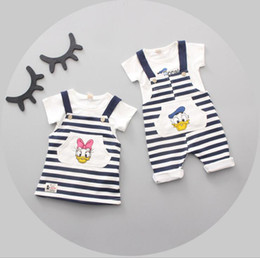 Wholesale Boys Dress Clothes 24 Months - Kids Clothing Set Donald Duck Baby Clothes Boys Girls T Shirt Stripe Dress Overalls Boutique Children Fashion Summer Toddler Outfits
