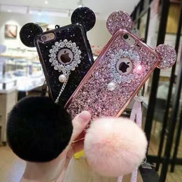 Wholesale Cartoon Mouse Cases - 2017 New Colorful Glitter Powder Cover For iPhone 7 i7 plus Samsung S8 Case Cartoon Mickey Mouse Ears Sparkling