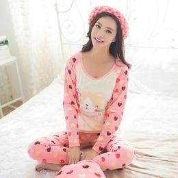 Wholesale pajamas cat print - Wholesale- 2017 Spring Pyjamas Women Pijamas Mujer Cartoon Pink Cat Pattern Pajamas Sets Femme Long Sleeve Sleepwear Female Homewear M~XL