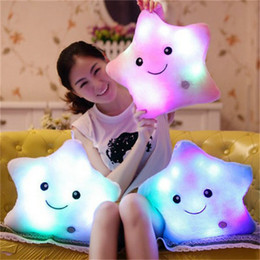 Wholesale Colorful Pillows - Light pillow cute plush toy doll luminous star plush Pillow Hot Colorful Stars kids Toys Birthday Gift
