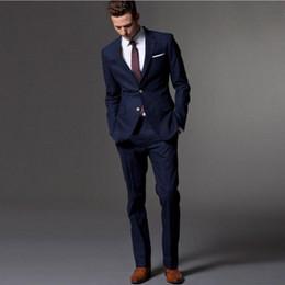 Wholesale Men S Work Pants - Wholesale- (Jacket+Pants+Tie) 2017 Tailored Men's Navy Blue Wedding Suits Italian Style Men's Work Suits Formal Prom Suits Men's Tuxedos