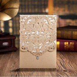 Wholesale Classic Invitations - Vertical Gold Classic Style Engagement Wedding Invitations Cards With Rhinestone Elegant Laser Cut Flower Birthday Party Cards CW5010