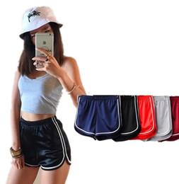 Wholesale Glossy Pants - Womens sports shorts pants Running fitness gym shorts High-waist glossy face Piping Homewear Beach short 5 color KKA1660