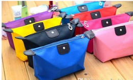 Wholesale Travel Kit Bag For Women - 2017 Cosmetic Bags For Women MakeUp Pouch Solid Make Up Bag 9 Colors Clutch Hanging Toiletries Travel Kit Jewelry Organizer Casual Purse