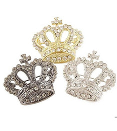 Wholesale Dress Imperial - Wholesale- Women Lady Party Dress Fashion Exquisite Lovely Holy Cross Imperial Crown Rhinestone Alloy Pin Brooch