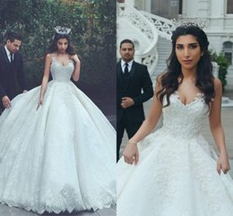 Wholesale Long Lace Formal Gowns - Modest Middle East Arabic Dubai Lace Wedding Dresses 2017 Ball Gowns Spaghetti Straps Sexy Backless Long Bridal Wedding Gowns Church Formal
