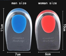 Wholesale Gel Sole Shoes Women - Mens Women Silicone Gel Heel Cushion Insoles Soles Relieve Foot Pain Protectors Spur Support Shoe Pad Feet Care Inserts
