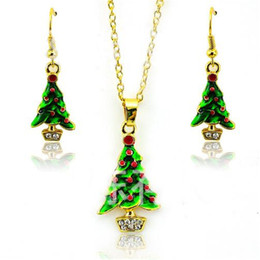 Wholesale Earings Necklace Sets - Fashion Jewelry Sets Gold Plated Earings Elegant Christmas Tree for Women Earrings Necklace Set Sweater Chain Wholesale New Arrival