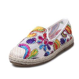 Wholesale Espadrilles Ladies Shoes - New Women's Espadrilles Slip-On Boat Flat Flats Fisherman Weave Casual Glitter Loafers Oxford Shoes Ladies Casual Shoes