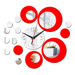 Wholesale mirror clocks - Wholesale-2015 real quartz watch wall double color new 3d home decor stickers diy vintage mirror clock Pastoral Acrylic special offer