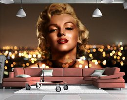 Wholesale Marilyn Monroe Art Prints - European Fashion Marilyn Monroe Girl Murals 3D Wall Wallpapers Photo Mural People for Living Room Wall Art Decor Wallcoverings