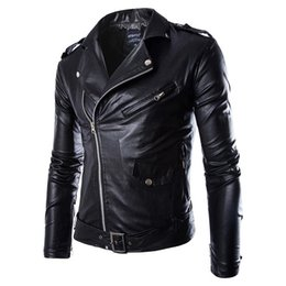 Wholesale Xs Leather Jacket - Wholesale- Men PU Leather Jacket Spring Autumn New Fashion British Style Men Leather Jacket Motorcycle Jacket Male Coat Black Brown M-3XL
