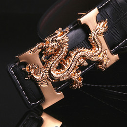 Wholesale Girl Rock Style Wholesale - Fashion Men's leather belt High Quality Chinese dragon totem punk rock style Smooth buckle designer brand luxury belt for Men gift