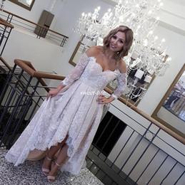 Wholesale Deep V Sweetheart Neckline Dress - Hi-Lo Formal Receiption Dress for Bride Vintage Lace Sweetheart Neckline 2017 Evening Gowns Off-Shoulder Prom Dresses Custom Made Plus Size