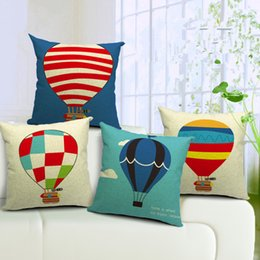 Wholesale Flying House - Cartoon Flying House Hot Balloon Cushion Covers Linen Square Decorative Pillows Covers Home Throw Pillows Case for Bedroom Sofa Pillowcase